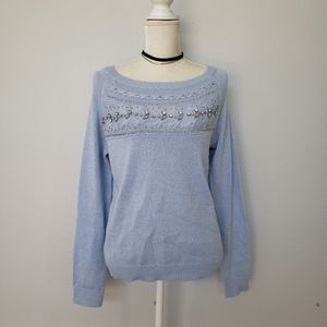 White House BM blue embellished sweater top